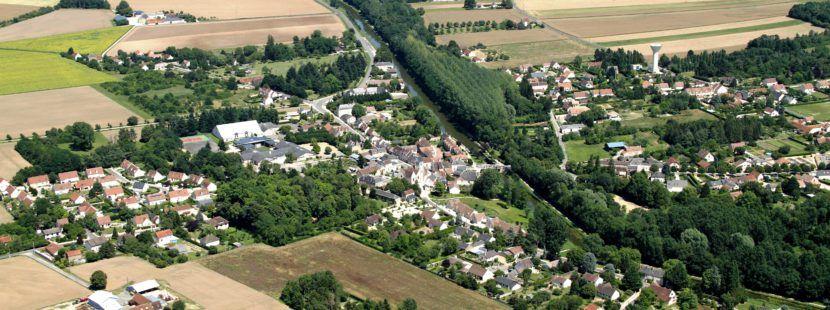 donnery vue aérienne du village