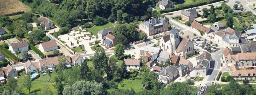 Centre-bourg de Donnery - vue aérienne
